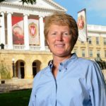 Lori Berquam standing in front of Bascom Hall
