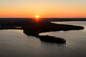 Photo of a sunset over Picnic Point in Madison, WI