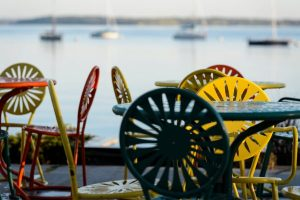 Colorful chairs at the Memorial Union Terrace