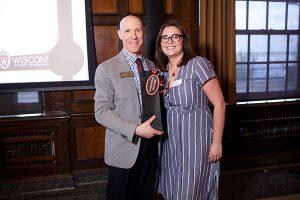 rgyle Wade presenting award to Samantha McCabe