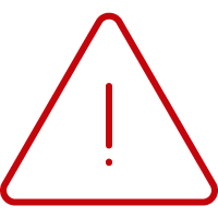 Red triangle with rounded corners and an exclamation point in the center