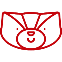 Line art image of Bucky Badger smiling