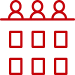 line art of two rows of three boxes on the bottom two rows and three silhouettes at the top