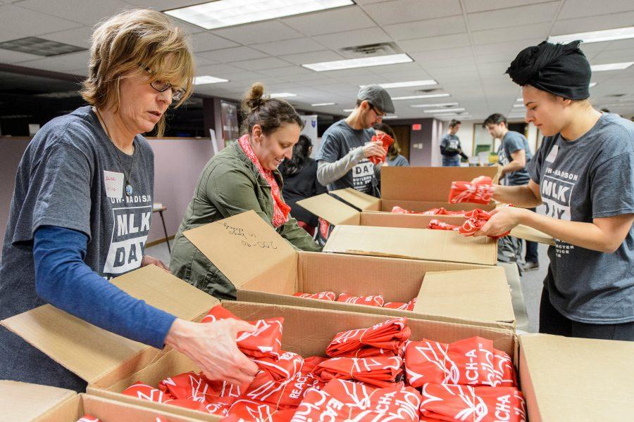 Volunteers sorting donations