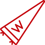 Line art image of a UW pennant