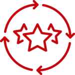 red stars surrounded by 4 arrows forming a circle