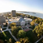 Ariel view of Bascom Hall on the UW Madison campus
