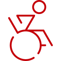 Line art image of active person in a wheelchair