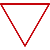 Line art image of an upside down triangle
