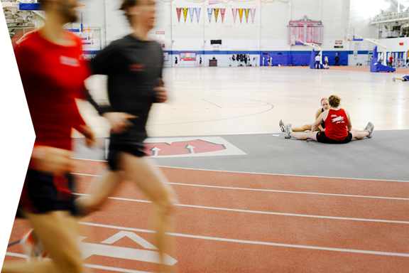 Students exercising at the SERF indoor track.