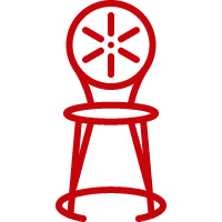 Line art image of Wisconsin Union chair