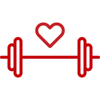 Line art image of a dumbell with a heart