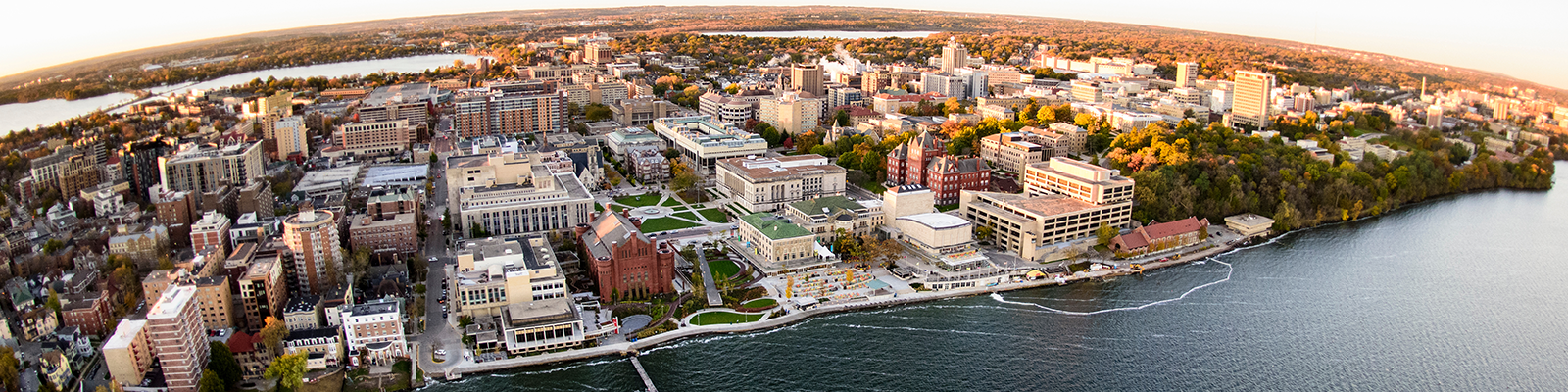 Aerial view of the UW Madison campus and lakeshore