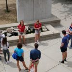 Student staff give a tour of campus